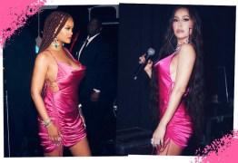 Sabrina Sato mostra que é fã do estilo de Rihanna ao usar o mesmo vestido da cantora