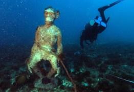 Pesquisadores encontram estátua de macaco em Parque Marinho de Fortaleza