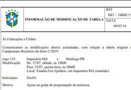 Jogo entre Botafogo-PB  e Imperatriz-MA tem nova data e horário