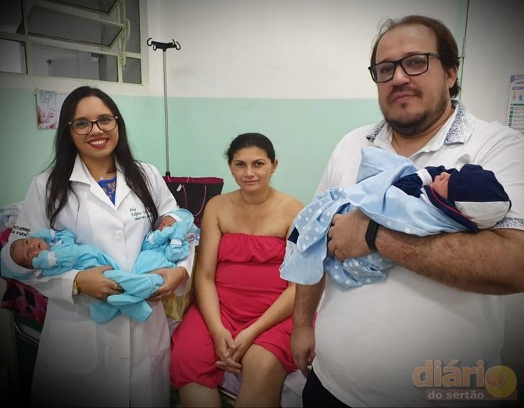 2trigemeos - Cajazeirense descobre pouco antes do parto que estava grávida de trigêmeos e escolhe nomes especiais