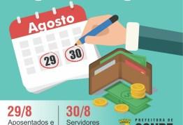 Conde paga servidores e servidoras municipais nos dias 29 e 30 de agosto