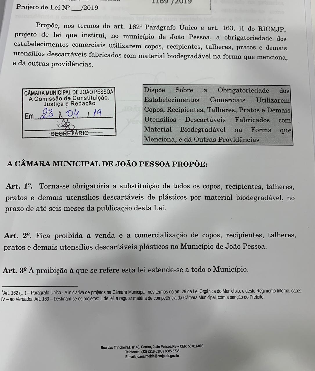 a5b877db 41a6 450f b4d8 71bf7df4a606 - Projeto de lei quer proibir venda e comercialização de qualquer material de plástico em João Pessoa