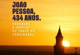 João Azevêdo e RC parabenizam a capital paraibana: 'João Pessoa é meu lugar' ressalta ex-governador