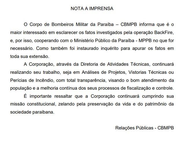nota - Operação Backfire: Corpo de Bombeiros abre inquérito policial e afasta coronel José Carlos de Souza