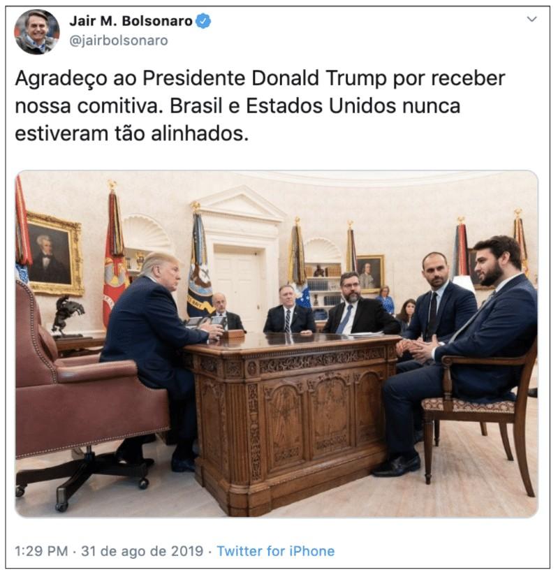 unnamed file - Bolsonaro comemora após Casa Branca divulgar imagens de encontro entre Eduardo e Trump