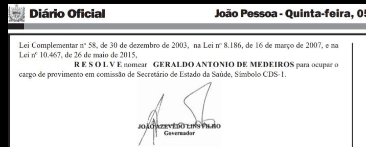 20190905 055011 - DIÁRIO OFICIAL: Geraldo Medeiros é nomeado como secretário de Estado da Saúde da PB