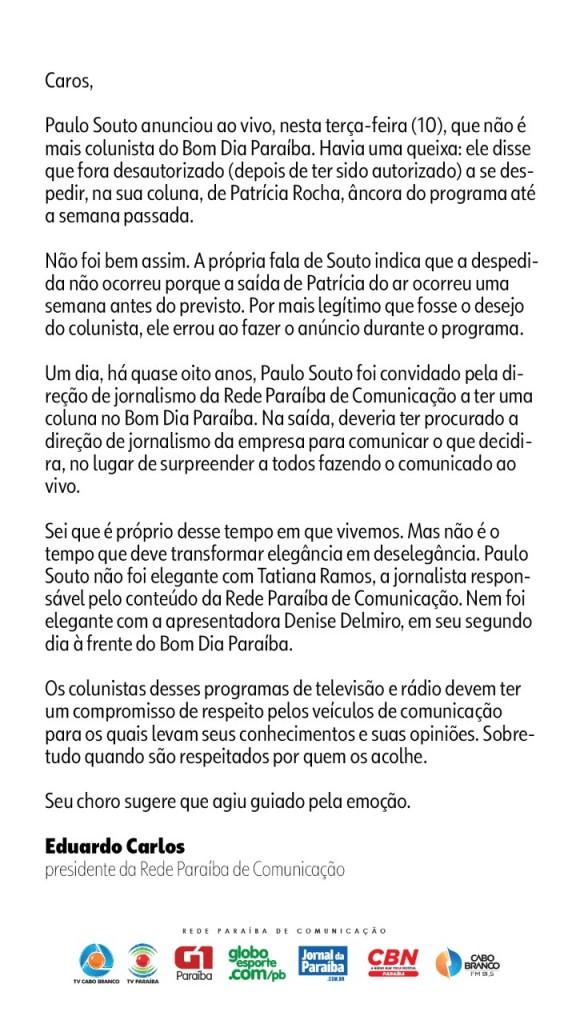 6e824273 9c6a 4631 9439 1c2264018d68 - Presidente da Rede Paraíba de Comunicação desmente fala de colunista e, chama de 'deselegante' pedido de demissão ao vivo
