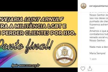 CERVEJA - 'JAMAIS ACEITAREMOS O PECADO' Cervejaria se manifesta contra LGBT e divide opiniões na rede social
