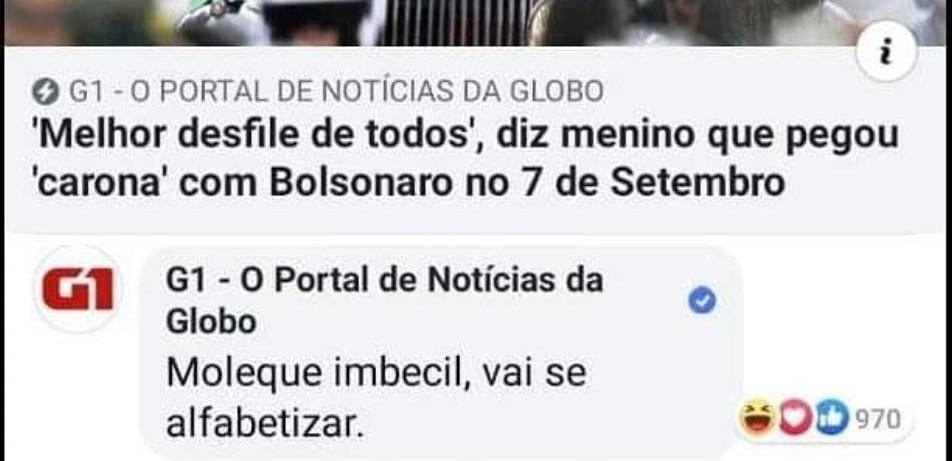 Página do 'G1' é utilizada para xingar criança que abraçou Bolsonaro em desfile; site diz que houve 'uso indevido'