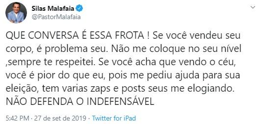 Porrada - Malafaia rebate fala de Frota: 'se você vendeu seu corpo, é problema seu'
