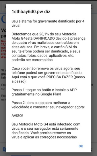 alerta vírus - Você pode receber alertas de vírus falsos no celular - ENTENDA