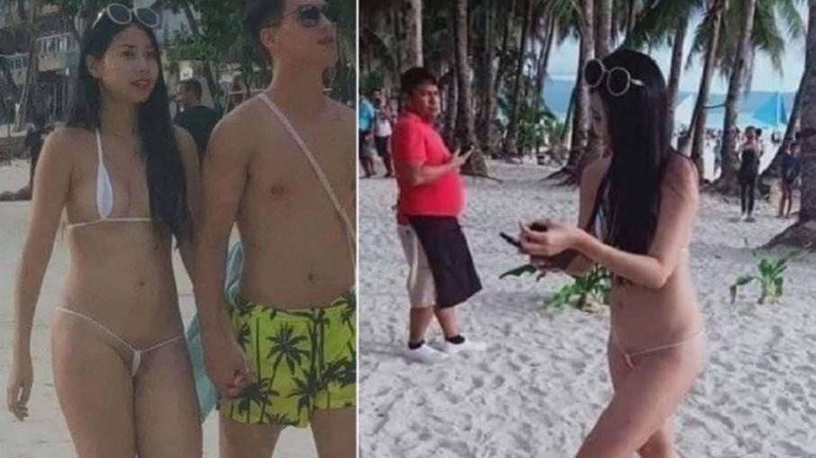 Capturar 18 - Turista é multada por biquíni fio-dental em praia filipina