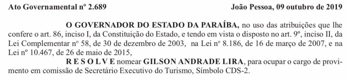 FD24CDB4 03CE 4F99 8E67 27CD7549DDAF - NOMEAÇÃO: Gilson Andrade Lira é nomeado como Secretário de Turismo após exoneração de Ivan Burity