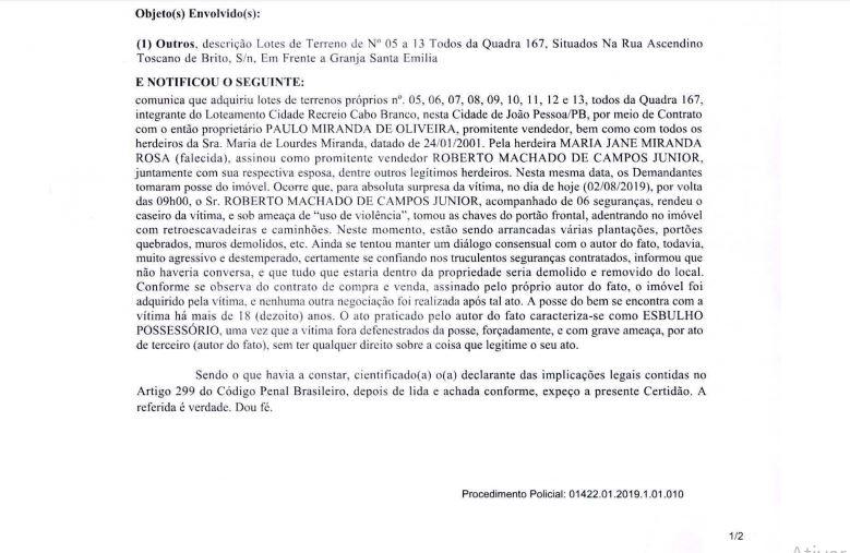 PROCESSO 1 - DISPUTA JUDICIAL: famílias Miranda e Toscano de Brito travam batalha após suposta invasão de imóvel no Cabo Branco