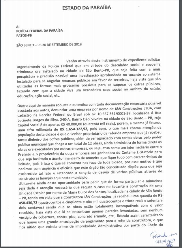 WhatsApp Image 2019 10 02 at 18.36.50 1 - Suspeita de superfaturamento em obras: MPF e PF recebem denúncia contra prefeitura de São Bento - VEJA DOCUMENTO
