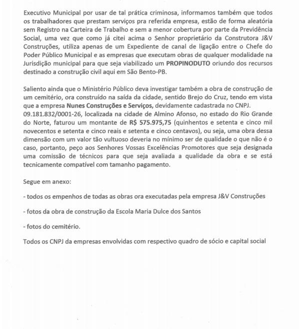 WhatsApp Image 2019 10 02 at 18.36.50 - Suspeita de superfaturamento em obras: MPF e PF recebem denúncia contra prefeitura de São Bento - VEJA DOCUMENTO