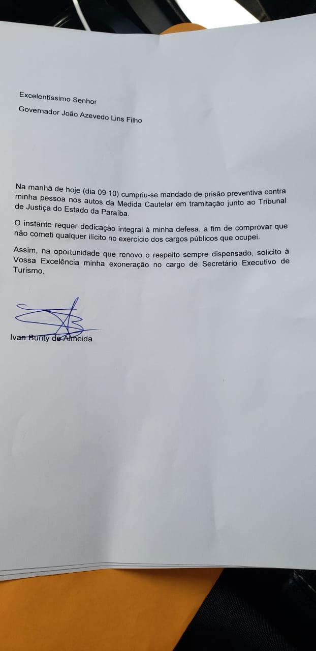 WhatsApp Image 2019 10 09 at 13.46.16 1 - EXONERAÇÃO: Secretário de Turismo pede demissão após prisão pela Operação Calvário