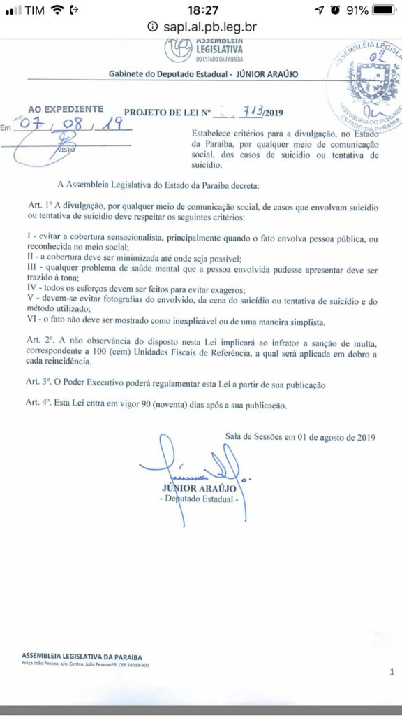 WhatsApp Image 2019 10 10 at 18.27.37 576x1024 - CCJ da Assembleia aprova projeto que pune noticiário sensacionalista sobre suicídio na PB