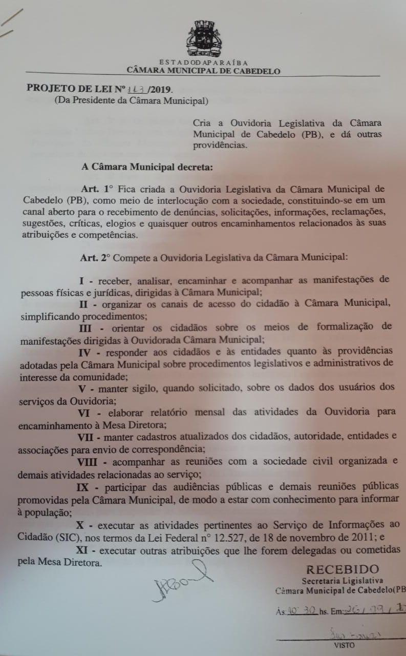 WhatsApp Image 2019 10 11 at 17.15.54 - IMPACTO DE R$ 400 MIL: vereador denuncia criação de 15 cargos desnecessários na Câmara de Cabedelo; VEJA VÍDEOS E DOCUMENTOS
