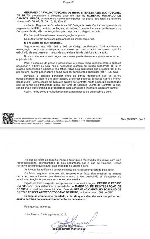 mandado de posse - DISPUTA JUDICIAL: famílias Miranda e Toscano de Brito travam batalha após suposta invasão de imóvel no Cabo Branco