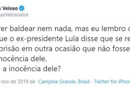 Paraibano Lucas Veloso ironiza libertação de Lula: 'Provaram a inocência dele?'