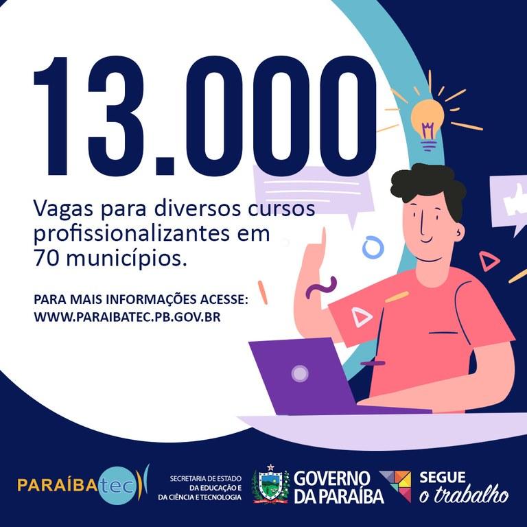 afadffd8 ab96 4075 ae67 ca6b2f0edb8e 1 - 13 MIL VAGAS: Paraíbatec abre inscrições para 39 cursos profissionalizantes em 70 municípios da Paraíba