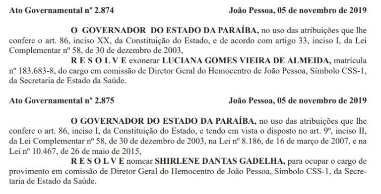 atos - MUDANÇAS: Cunhada de Gervásio Maia, Luciana Vieira é exonerada e esposa de Hervázio Bezerra assume diretoria do Hemocentro de João Pessoa