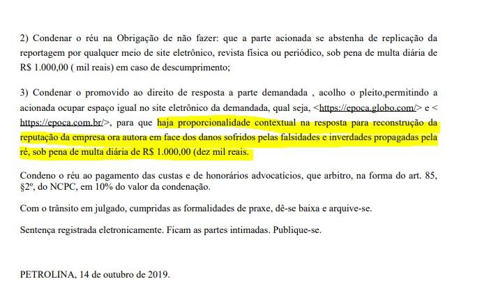 """condenação 02 - MULTA E DIREITO DE RESPOSTA: Empresa que fez propaganda de Bolsonaro e foi acusada pela Época de ser """"fantasma"""" ganha causa na justiça"""