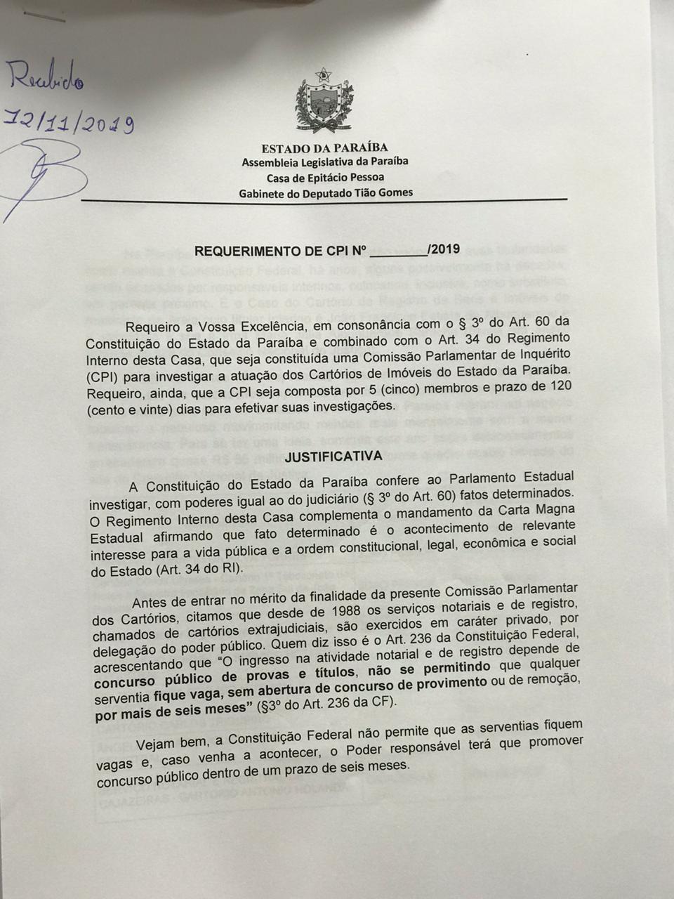e6c2f02a affd 4ecf 88b2 ba49f6c4f4c4 - Tião Gomes protocola a CPI dos Cartórios com 12 assinaturas