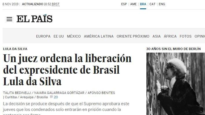 elpais - Imprensa internacional repercute libertação de Lula