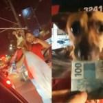 gusttavo lima cao close - Gusttavo Lima para carro e ajuda catador com cão no ombro - VEJA VÍDEO