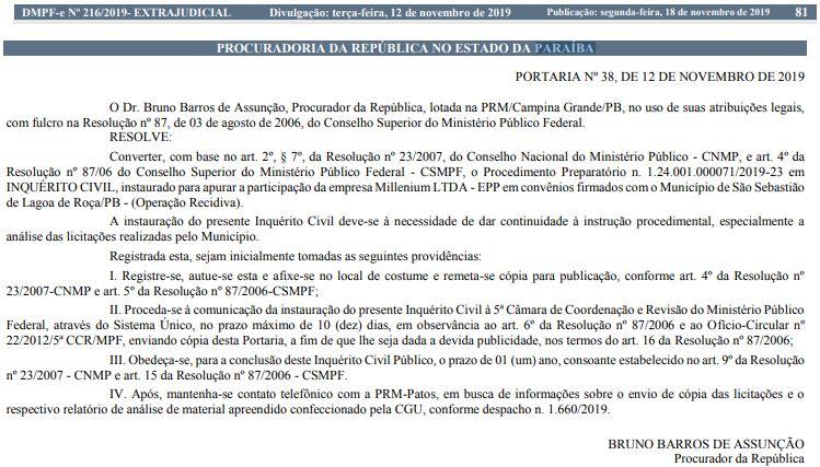 mpf - 'Operação Recidiva': MPF abre inquérito para investigar contratos de empresa com prefeitura paraibana- VEJA DOCUMENTO