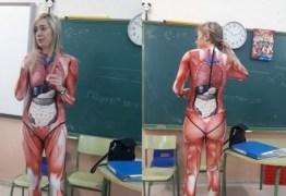Professora se veste com 'roupa de órgãos' e viraliza na internet