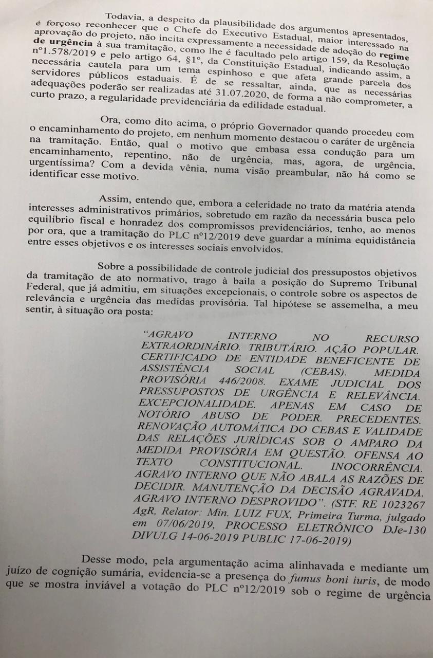 WhatsApp Image 2019 12 11 at 19.36.48 2 - Justiça aponta 'interesses sociais' e suspende urgência na votação da reforma da Previdência na ALPB; LEIA DECISÃO