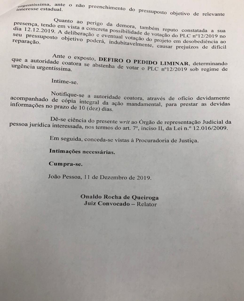 WhatsApp Image 2019 12 11 at 19.36.49 - Justiça aponta 'interesses sociais' e suspende urgência na votação da reforma da Previdência na ALPB; LEIA DECISÃO