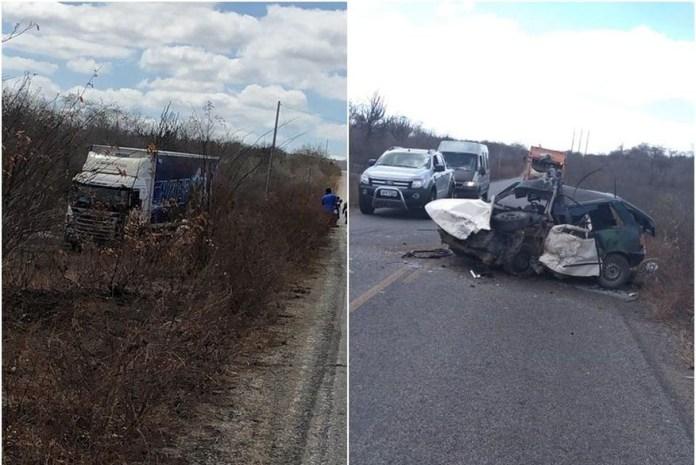 acidente   caminhao cavaleiros do forro - A TRAGÉDIA SE REPETE: Ônibus da banda Cavaleiros do Forró colide com carro e motorista morre no local