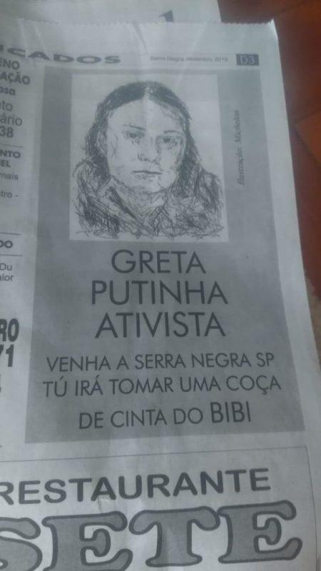 greta 1 e1577402379978 - 'PUTINHA ATIVISTA': Jornal publica ameaça contra ativista Greta Thunberg