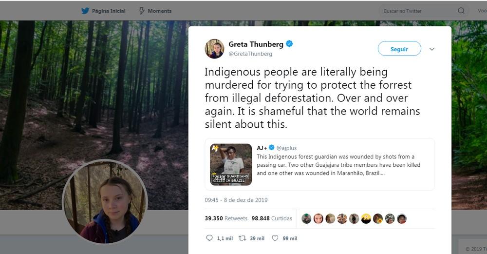 """twitter greta - """"PIRRALHA"""": Bolsonaro ofende Greta ao comentar post da ativista sobre morte de índios - VEJA VÍDEO"""