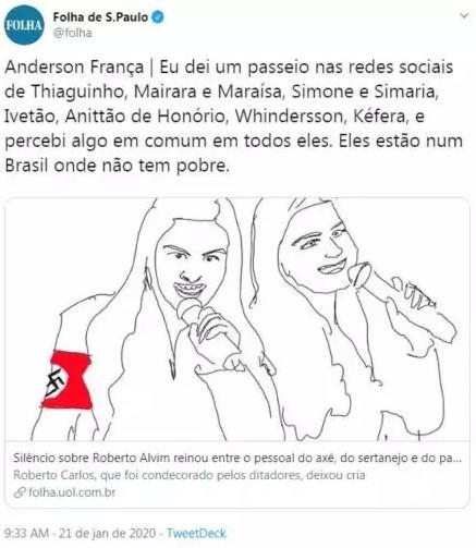 Coluna da Folha usou ilustração que trouxe suástica nazista nos braços da dupla sertaneja - Maiara e Maraisa repudiam artigo da Folha de São Paulo