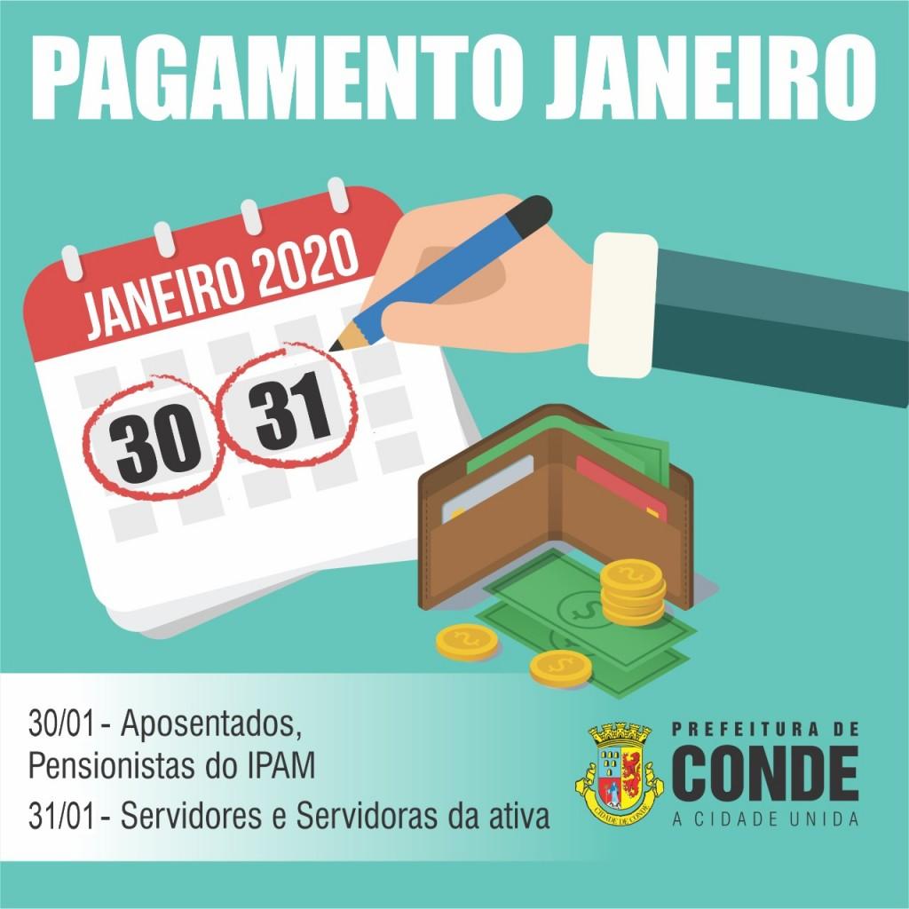 Pagamento - Servidores e servidoras da Prefeitura de Conde recebem o pagamento de janeiro nos dias 30 e 31