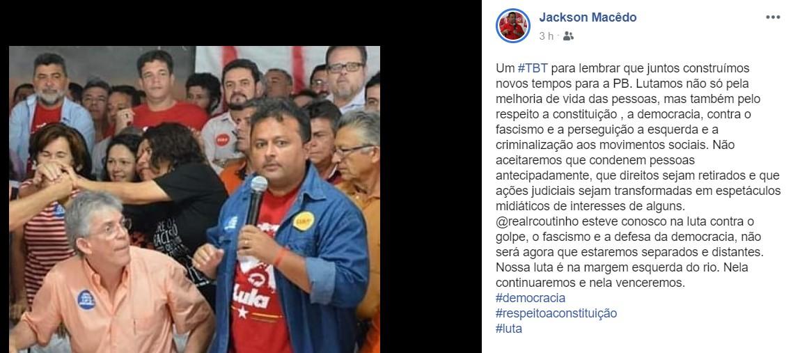 jacksonerc - Jackson Macêdo reforça apoio a Ricardo Coutinho: 'não abandonaremos o companheiro'