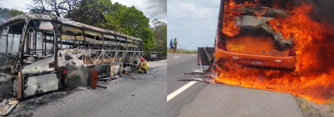 nibus pega fogo - Ônibus da Rio Tinto com 30 passageiros pega fogo na BR-230 - VEJA VÍDEO