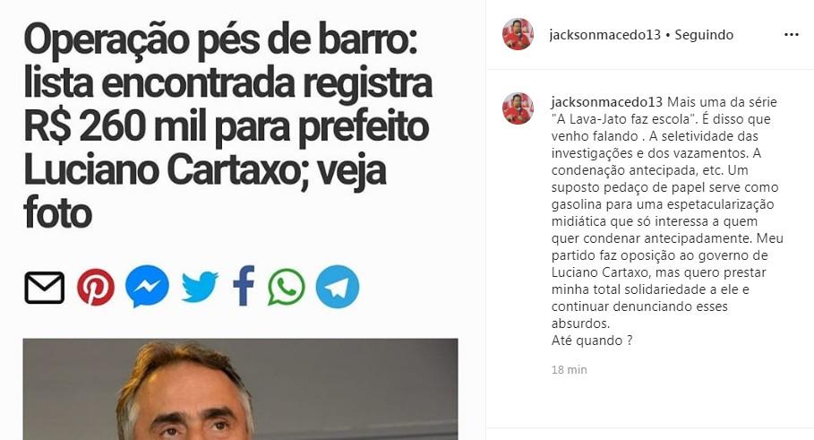Capturar 8 - Oposição, Jackson Macêdo presta solidariedade a Cartaxo e critica exposição midiática da Operação Pés de Barro