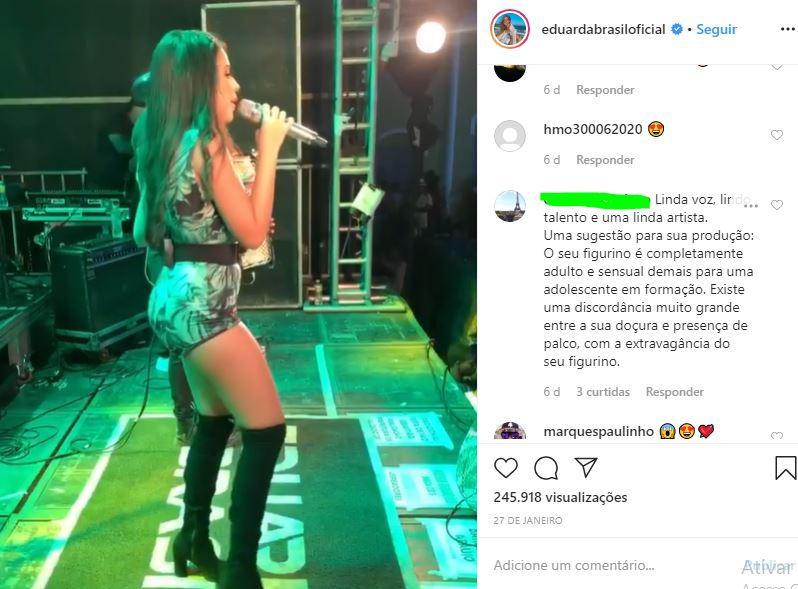 eduarda 10 - A GAROTINHA CRESCEU: Seguidores se chocam com roupas sensuais de Eduarda Brasil, campeã do The Voice Kids