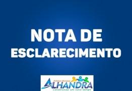 Prefeitura de Alhandra afirma em nota que comprovará a licitude da gestão municipal