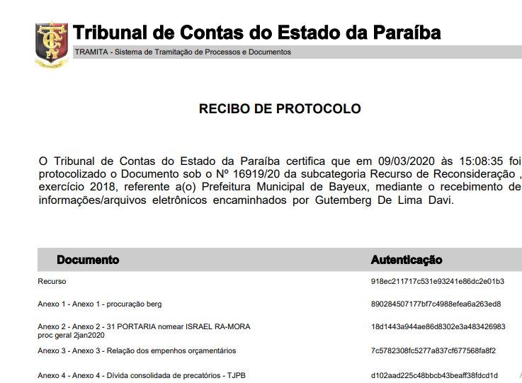 TCE PB - Defesa de Berg Lima protocola recurso contra intervenção e pede suspensão de votação na Câmara de Bayeux