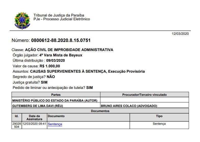 TJPB 1 - IMPROBIDADE ADMINISTRATIVA: Juiz nega pedido de afastamento de Berg Lima da Prefeitura de Bayeux - VEJA DECISÃO