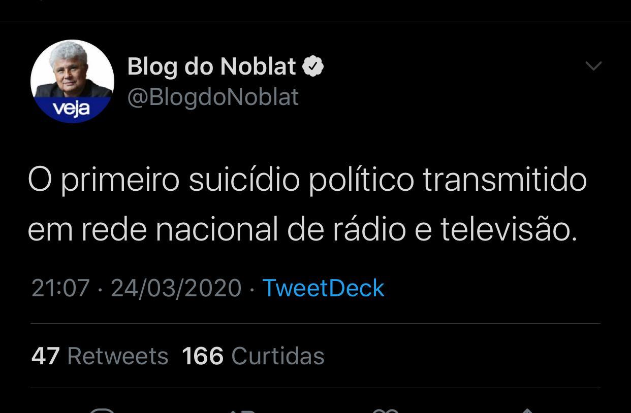 WhatsApp Image 2020 03 24 at 21.12.18 - 'Suicídio político transmitido em rede nacional': Noblat comenta pronunciamento de Bolsonaro sobre coronavírus