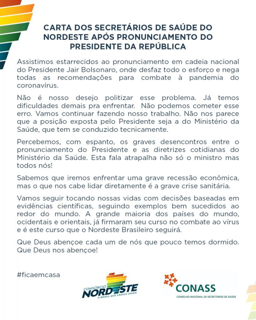 """WhatsApp Image 2020 03 24 at 22.54.55 - Em nota, secretários de saúde do NE se dizem """"estarrecidos"""" com o pronunciamento de Bolsonaro sobre coronavírus"""