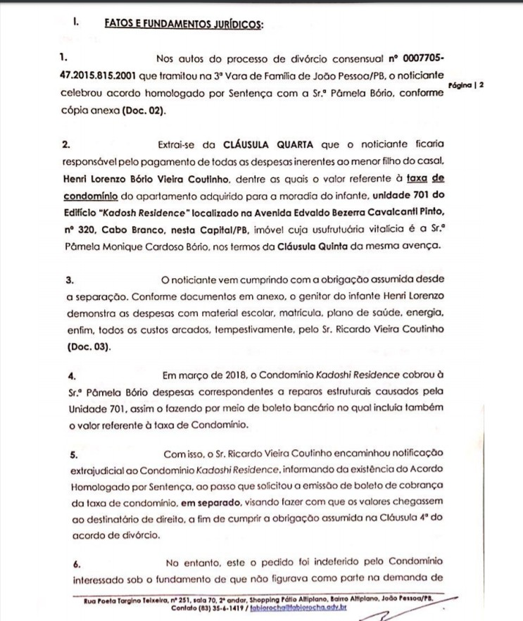 2 - Crime de apropriação indébita: Ricardo Coutinho deu entrada em Notícia Crime contra Pamêla Bório - VEJA DOCUMENTO